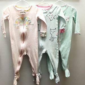 3 baby cotton pajamas footies one piece